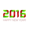 Happy new year 2016 text design green and red vector image vector image
