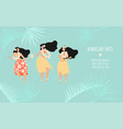 hawaiian party banner template with three girl vector image