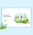healthy lifestyle landing page template characters vector image vector image