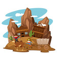 kids playing cowboy in western town vector image vector image