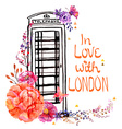 London phone booth with watercolor flowers vector image vector image