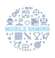 mobile gaming round in outline vector image vector image