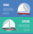 nautical travel flyers with sailboats vector image vector image