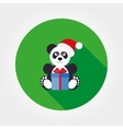 Panda in a santa hat with a gift vector image vector image