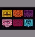 papel picado cards set mexican paper decorations vector image
