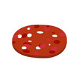 piece of sausage isolated slice of salami on vector image