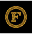 premium elegant capital letter f in a round frame vector image vector image