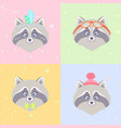 raccoons set vector image