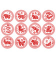 round frames chinese zodiac signs animals types vector image