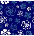 seamless flower pattern over blue vector image vector image