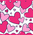 seamless pattern pink hearts on white background vector image