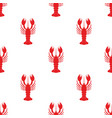 seamless pattern with cartoon lobster isolated on vector image