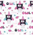Seamless pattern with owl vector image vector image