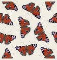 seamless pattern with red peacock eye butterflies vector image vector image