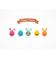 Set of Easter eggs emoticons emoji set vector image vector image