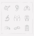 set of organ icons line style symbols with x-ray vector image