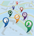 set of tourism service map pointers on map vector image vector image