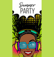 simmer misuc banner woman disco pop at vector image vector image