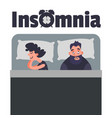 sleepless insomnia concept art tired man on the vector image