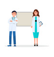 smiling doctors team man and woman in white coats vector image