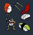 sushi restaurant icons set vector image vector image