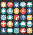 trees icon set on color circles black background vector image