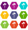 tulips icon set color hexahedron vector image vector image