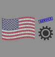 usa flag stylization cog and grunge service vector image vector image