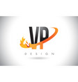 vp v p letter logo with fire flames design and vector image vector image