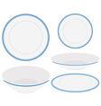 White plates with blue trim vector image vector image