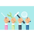 Tools and Hands Design Flat Concept vector image