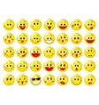 Yellow happy round emoticon faces set vector image