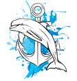 anchor and dolphin icon vector image vector image