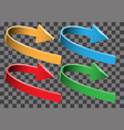 arrow color 3d curve direction set collection vector image