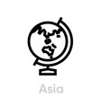 asia globe on stand icon editable line vector image
