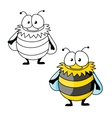 Black and yellow striped furry cartoon bumblebee vector image