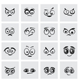 black cartoon eyes icon set vector image