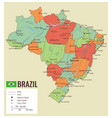 brazil political map with selectable territories vector image vector image