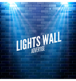 brick wall with lights colorful light shining vector image