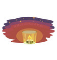 burning candle in dark with stars on sky free vector image