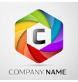 C Letter colorful logo in the hexagonal on grey vector image