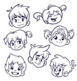 cartoon children heads icons vector image vector image