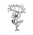cartoon flower umbrella sketch vector image vector image