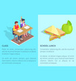 class with two students and apple near sandwich vector image vector image