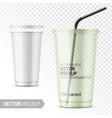 clear disposable plastic cup with lid vector image vector image