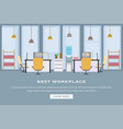Coworking workspace landing page flat template