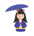 cute woman japanese cartoon vector image vector image