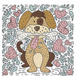 dog with a bone and hearts vector image vector image