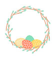 easter wreath made of willow branches and painted vector image vector image