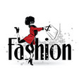 fashion girl in sketch-style fashion woman vector image vector image